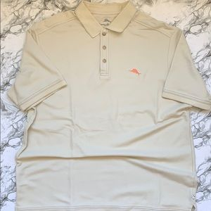 Tommy Bahama cream button up polo style shirt